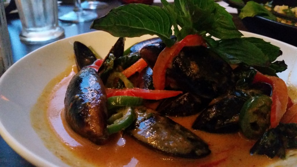 Mussels in rich, red curry at Songkran