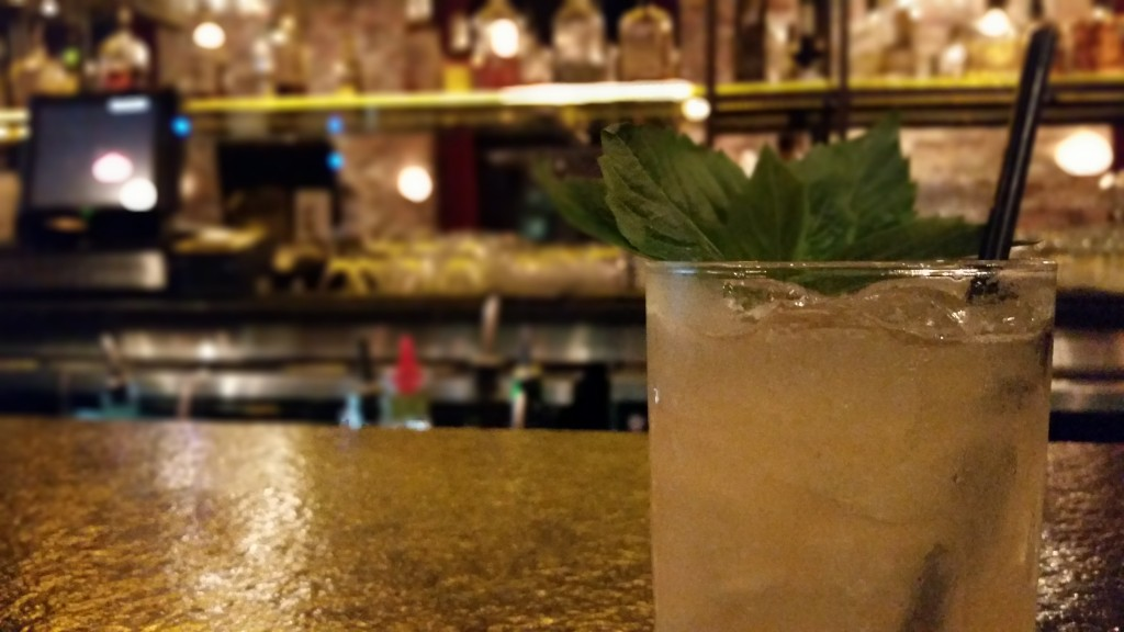 The Black Basil from Songkran Thai Kitchen: Pyrat XO Rum, lemon, tamarind syrup, Thai basil garnish.